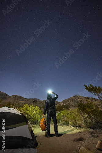 Full length rear view of man shining flashlight on starry sky at Big Bend National Park