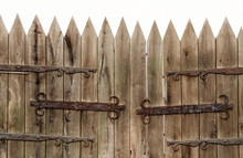 Old Gate, Wooden Palisade, Medieval Fence Made Of Wood