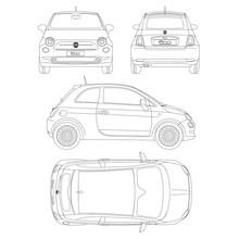 Fiat 500 Car Blueptint Vector ...