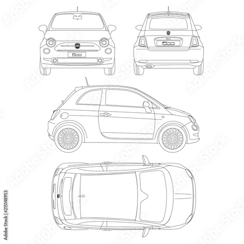 Fotografia  Fiat 500 car blueptint vector technical drawing