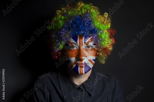 Fotografie, Obraz  Funny clown woman with painted british flag