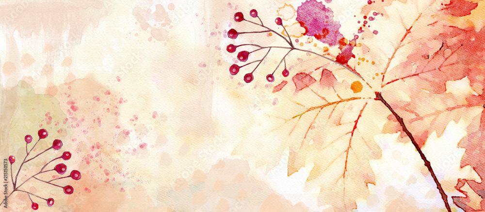 Fototapety, obrazy: Autumn watercolor background. Design element