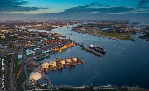 Photo  Gas storage terminal in the sea port. Baltic sea, Daugava river.