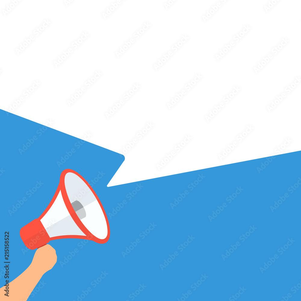 Fototapeta Hand holding megaphone with blank speech bubble cartoon illustration