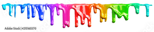 Photo sur Aluminium Forme Colorful paint dripping isolated on white