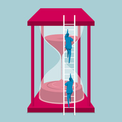 Businessman climbs the hourglass from the ladder. The background is blue.