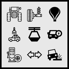 Simple 9 Icon Set Of Car Related Car Wash, Hot Air Balloon, Tractor And Tire Vector Icons. Collection Illustration