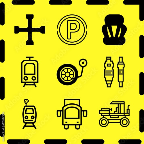 Fényképezés  Simple 9 icon set of business related car parts, public transport, seat and spanner vector icons