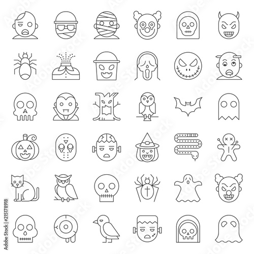 Fototapety, obrazy: Halloween character thin line icon set