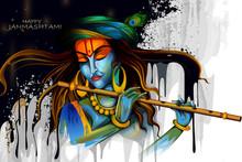 Lord Krishna Playing Flute On Happy Janmashtami Holiday Indian Festival Greeting Background