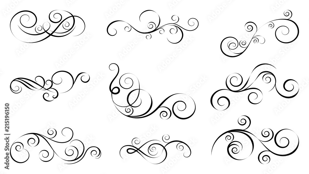 Fototapety, obrazy: Design curls and scrolls set. Decorative elements for frames. Elegant swirl vector illustration.