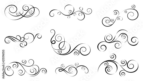 Obraz Design curls and scrolls set. Decorative elements for frames. Elegant swirl vector illustration.  - fototapety do salonu