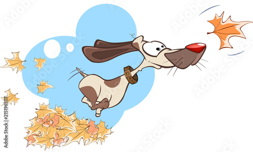 Illustration Funny Dog Playing in Leaves
