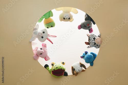 Fotografie, Obraz  Circle animal puppet doll close friends BFF mouse Giraffe Pandaa