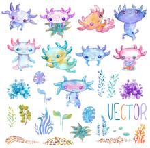 Cote Watercolor Vector Axolotl Set