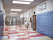 canvas print picture - school hallway interior 3d illustration