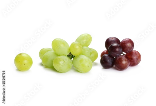 Dark and white grapes isolated on white background Fototapete