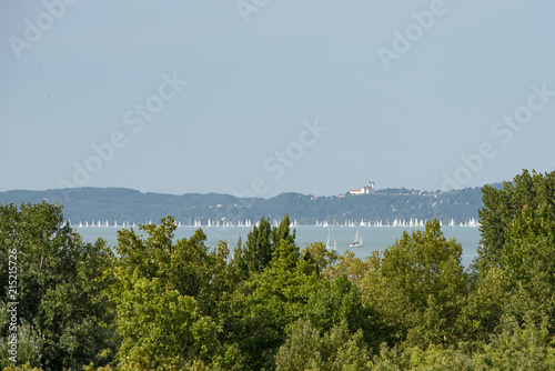 Fotobehang Bleke violet Blue Riboon on the Lake Balaton