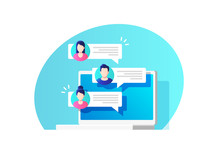 Communication, Dialog, Conversation On An Online Forum And Internet Chatting Concept. Vector Illustration.
