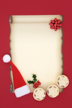 Letter To Santa Claus With Blank Parchment Paper, Santa Hat, Mince Pies, Bow And Holly Berry Leaf Sprig On Red Background. Christmas Eve Concept.