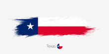 Flag Of Texas US State, Grunge Abstract Brush Stroke On Gray Background.