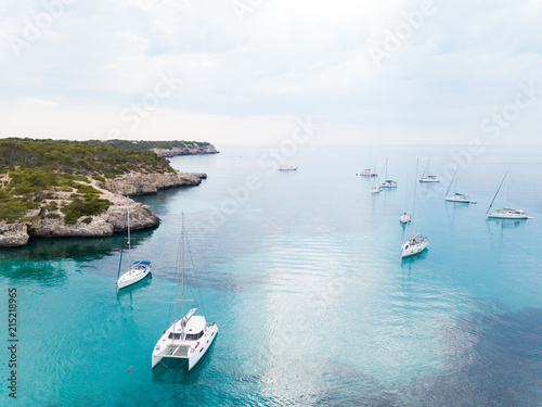 Fotografiet Yachts in the bay of Mallorca, Spain, view from above