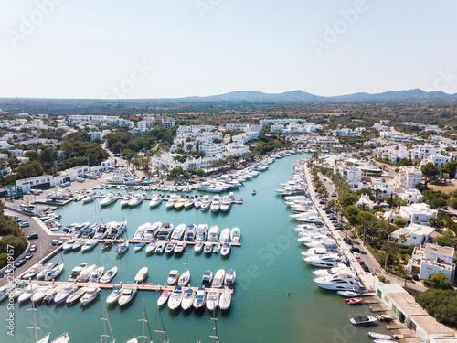In de dag Poort Aerial: Jetty of Cala D'Or resort town in Mallorca, Spain
