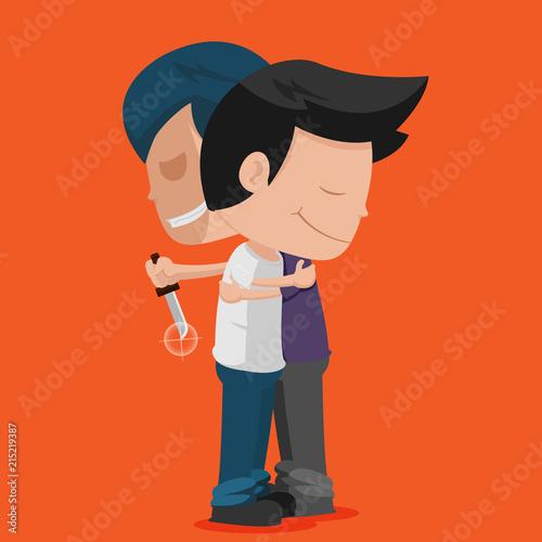 Man Friend Stab Hug Betray Vector Canvas Print