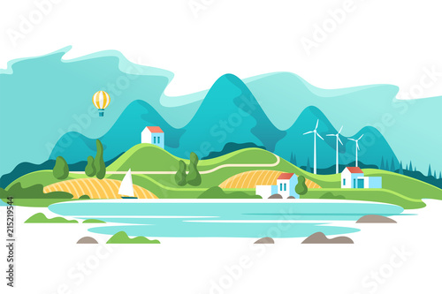 Keuken foto achterwand Turkoois Summer landscape with houses on a background lake and of forest mountains. Vector illustration.