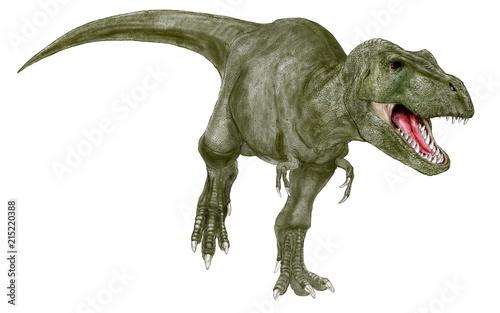 ティラノサウルス。白亜紀の代表的な恐竜。口を開けているイラスト画像です。アーミーグリーンの体色を採用した。 Canvas Print