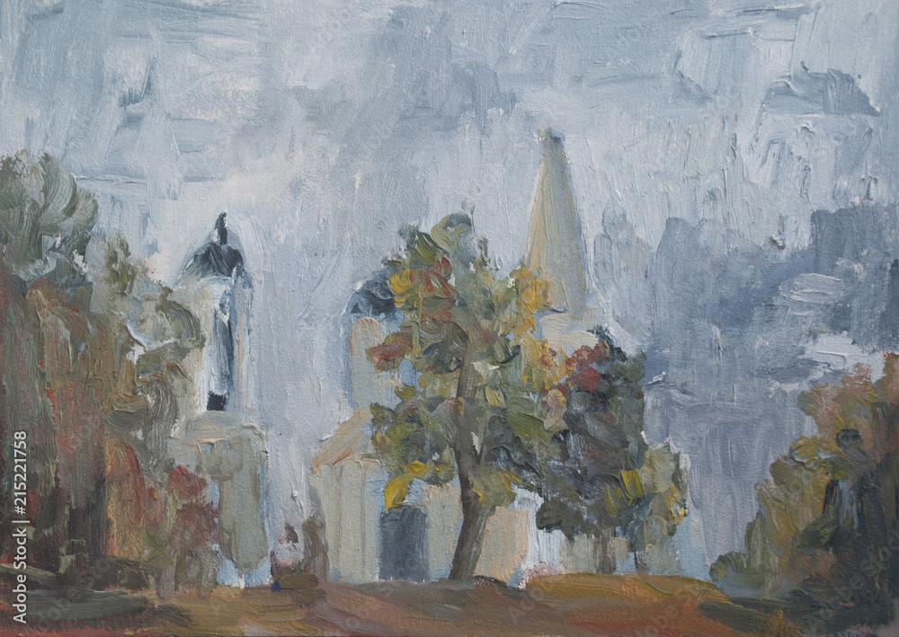city landscape with oil paints, Church among the trees, Moscow Russia