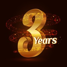 3 Years Golden Anniversary 3d Logo Celebration With Gold Glittering Spiral Star Dust Trail Sparkling Particles. Three Years Anniversary Modern Design Elements. Vector Illustration.
