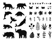 Endangered Species, Animals And Flowers Set