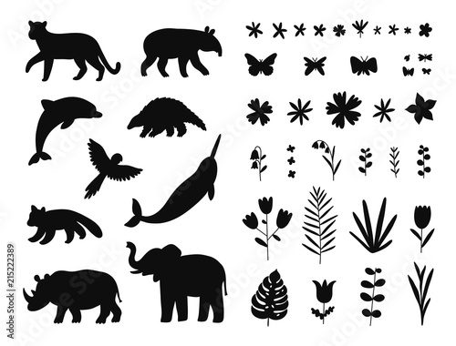 Endangered species, animals and flowers set Wall mural