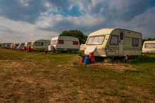 Old Rundown Caravans In A Sunn...