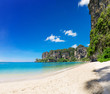 Popular travel tropical karst rocks perfect for climbing Tonsai Beach, Krabi province, Thailand