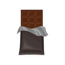 Chocolate Bar In Grey Polyethylene Wrap, Delicious Dessert Vector Illustration On A White Background