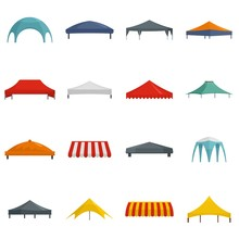 Canopy Shed Overhang Icons Set. Flat Illustration Of 16 Canopy Shed Overhang Vector Icons Isolated On White