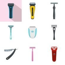 Shaver Blade Razor Personal Icons Set. Flat Illustration Of 9 Shaver Blade Razor Personal Vector Icons Isolated On White