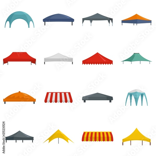 Photo Canopy shed overhang icons set