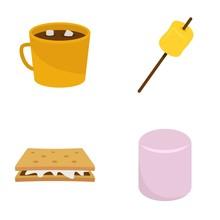 Marshmallow Smores Candy Icons...