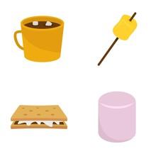 Marshmallow Smores Candy Icons Set. Flat Illustration Of 4 Marshmallow Smores Candy Vector Icons Isolated On White