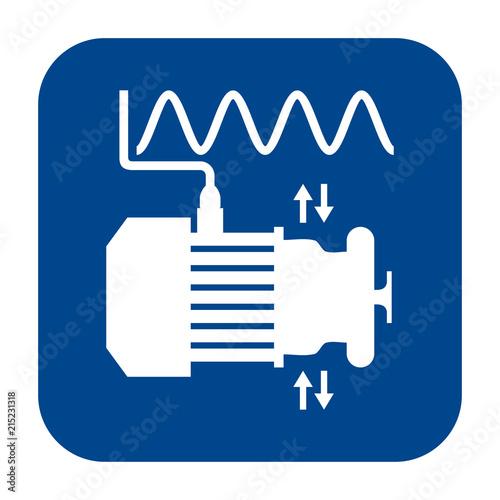 Fotografie, Obraz  Vector monochrome flat design icon of vibration analysis