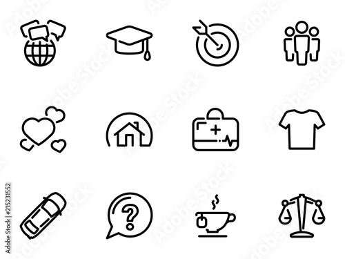 Fotomural Set of black vector icons, isolated on white background, on theme Social Human N