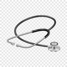Medical Stethoscope Mockup. Realistic Illustration Of Medical Stethoscope Vector Mockup For On Transparent Background