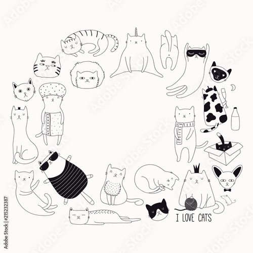 Printed kitchen splashbacks Illustrations Set of cute funny black and white doodles of different cats. Round frame with copy space. Isolated objects. Hand drawn vector illustration. Line drawing. Design concept for poster, t-shirt print.