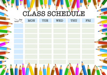 Class Schedule Or Timetable Surrounded By Colored Pencils Template Vector Illustration