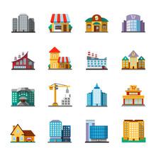 City Buildings Flat Design Long Shadow Color Icons Set