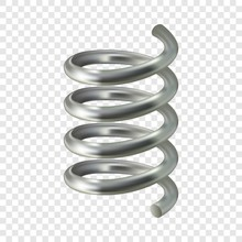 Grey Spiral Cable Mockup. Realistic Illustration Of Grey Spiral Cable Vector Mockup For On Transparent Background