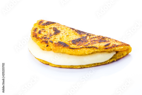 Cachapa with cheese, Typical Venezuelan cuisine made of ground corn and white cheese, white background